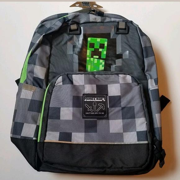 1f3eacf855 NWT Minecraft Creeper Backpack Grey Green